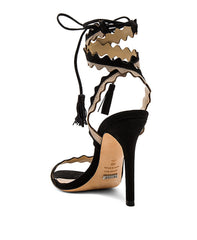 Lisana_black Zig zag tie up tassel straps high heel sandal