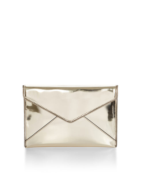 Leo_clutch_gold Zipper lined flat envelope mirror clutch