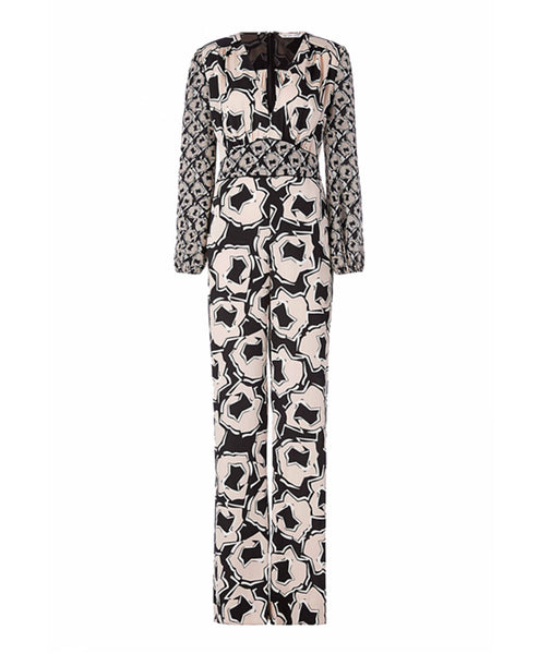 Viona Pommeau Printed Long Sleeve Jumpsuit