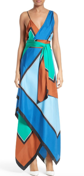 10155DVF Scarf Hem Tiered Midi Dress