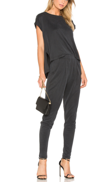 Gillian Charcoal Short Sleeve Skinny Jumpsuit