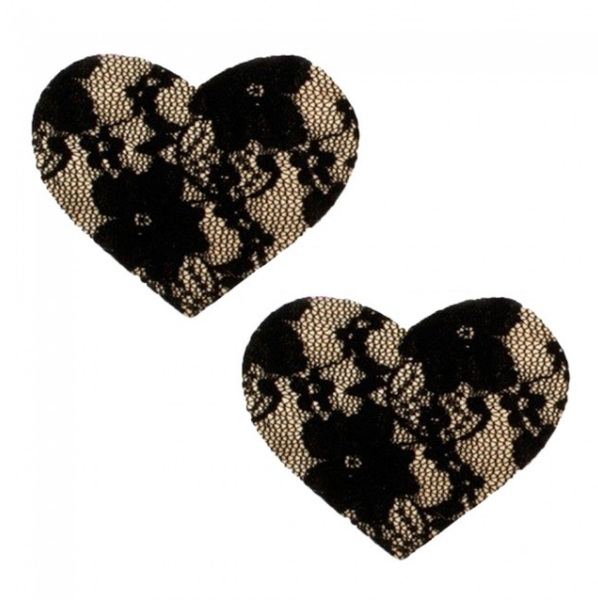11607 Adhesive Heart Lace Nipple Cover Black