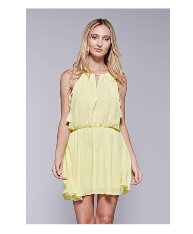 Y13222 Yellow Halter Cinched Waist Flowy Mini Dress