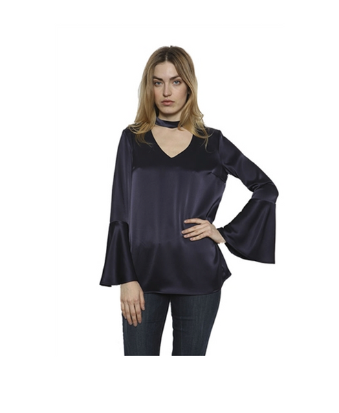 Jones Combination choker & V neckline bell sleeve top
