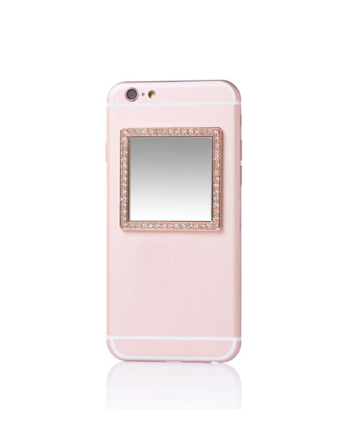 Rose Gold Square w/ Crystals Selfie Mirror