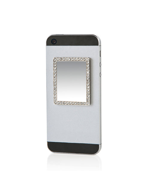 Silver Rectangle w/ Crystals Selfie Mirror