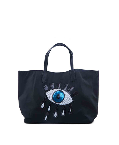 SequinEyeTote-Black Sequin eye nylon tote with removable crossbody