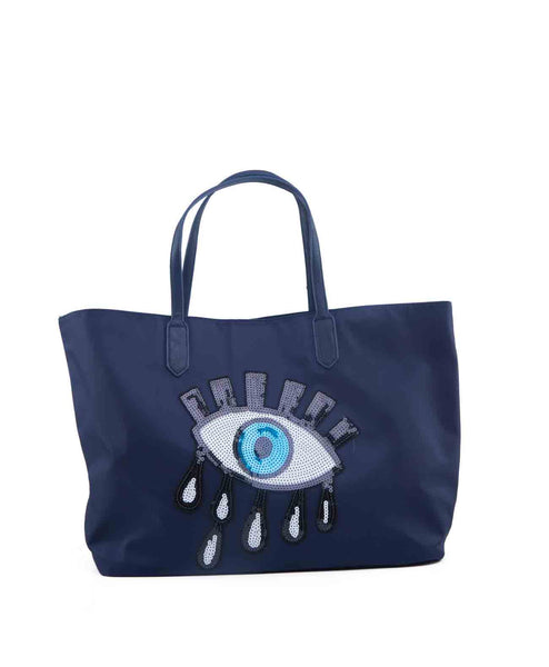 SequinEyeTote-Navy Sequin eye nylon tote with removable crossbody
