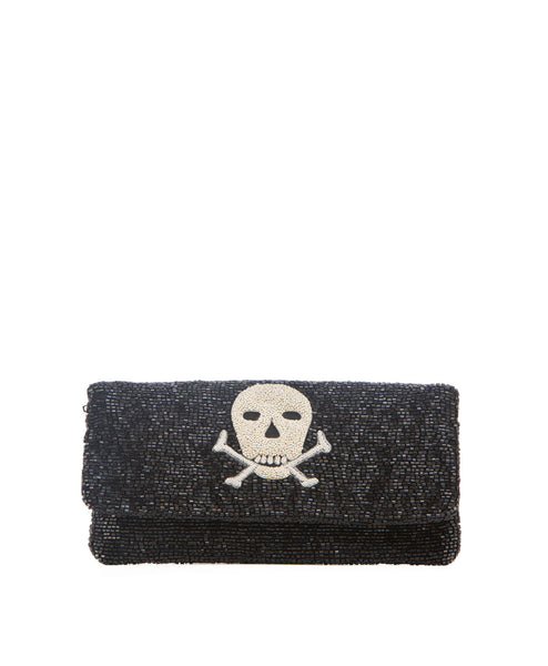 Beaded skull clutch handbag