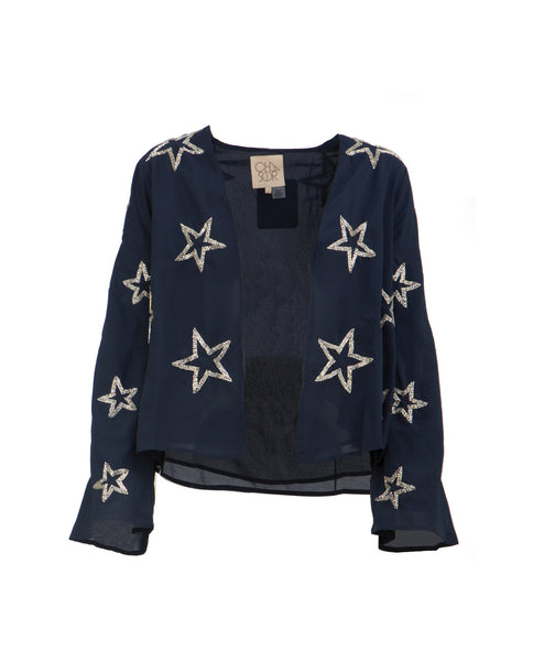 Beaded Silver Stars Open Jacket