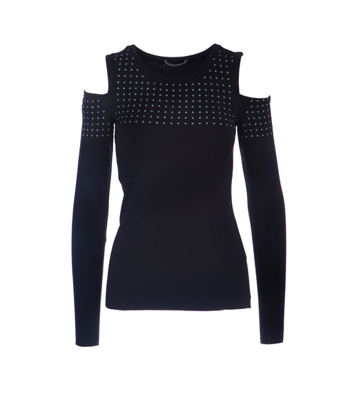 Still The One Cold Shoulder Long Sleeve Studded Top