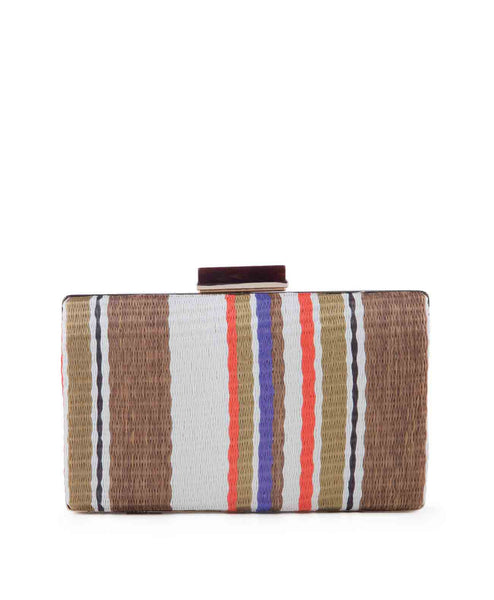 Striped straw orange clutch handbag