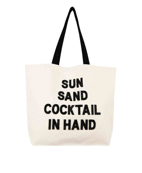 Sun Sand Cocktail In Hand Canvas Tote