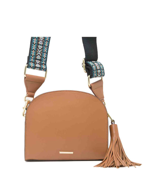 Sunday_moon_almond Guitar strap tassel zipper crossbody