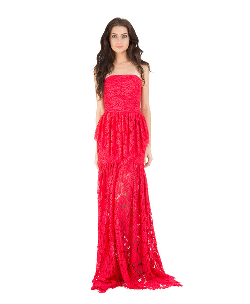 Sylvia Strapless Lace Gown