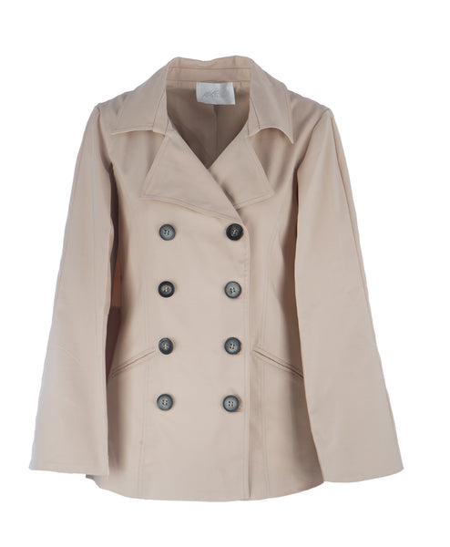 Y12567 Button Detail Cape Trenchcoat