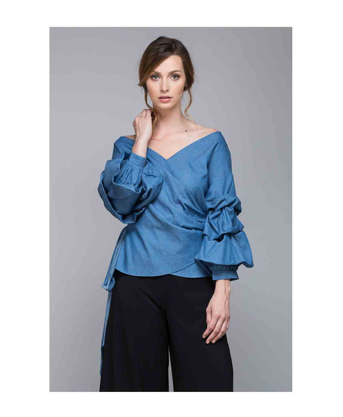 Y14215 Wrap Denim Top w/ Balloon Sleeves