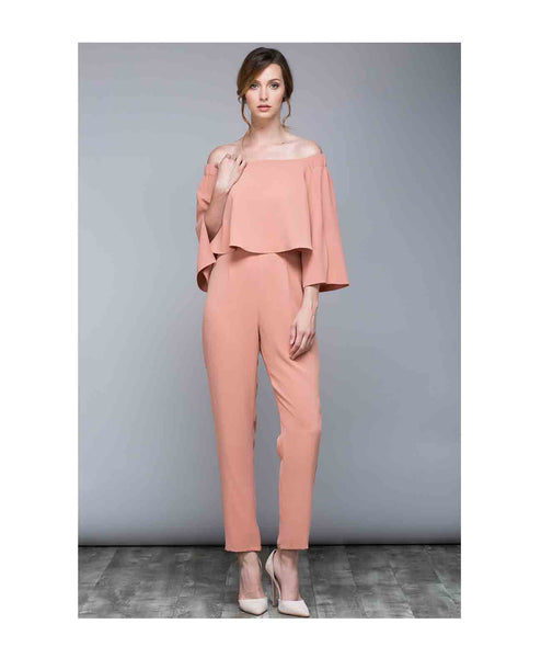 Y14252 Off Shoulder Jumpsuit