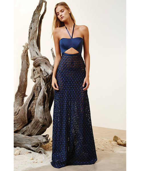 Abriana Halter Dotted Maxi Dress