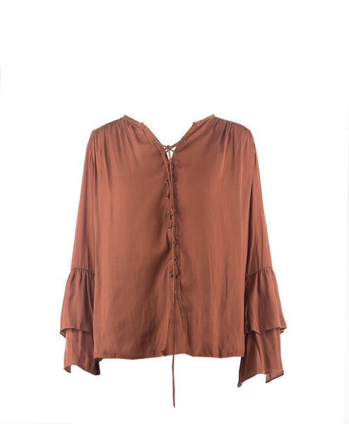Bella-Amber Ruffle Sleeve Lace Up Blouse