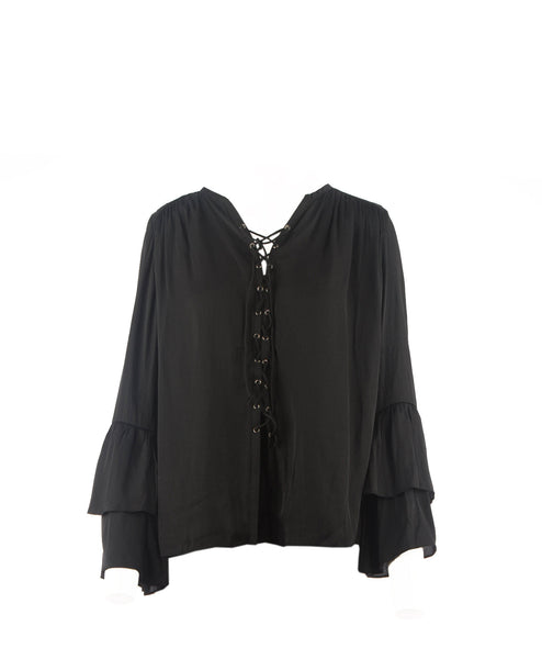 Bella-Black Ruffle Sleeve Lace Up Blouse