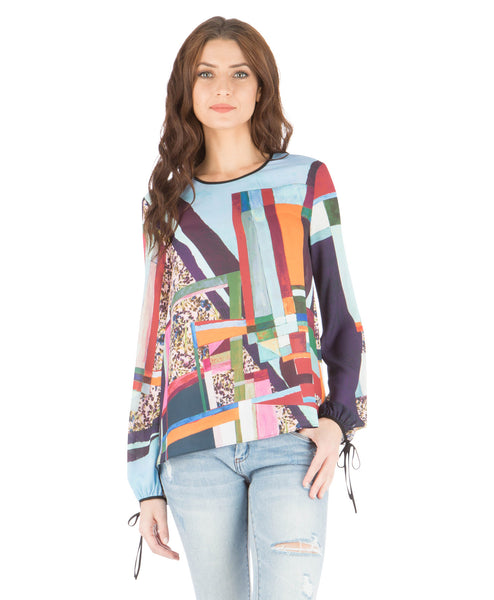 Modern Mosaic Long Sleeve Blouse