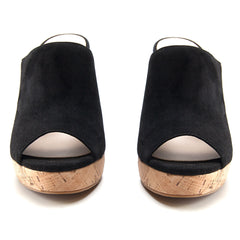Dawson Wedge Cork Slide in Black - Koko & Palenki - 3