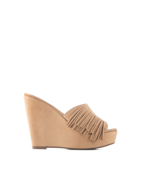 Evelyn  Fringe Slip On Wedge