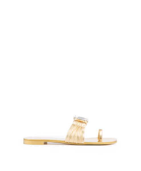48610 Metallic Gold Flat Sandal