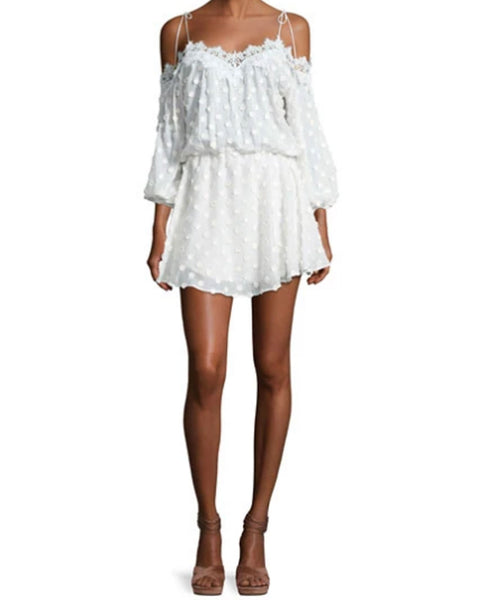 FleurSolid Cold Shoulder L/s Tie Up Mini Dress