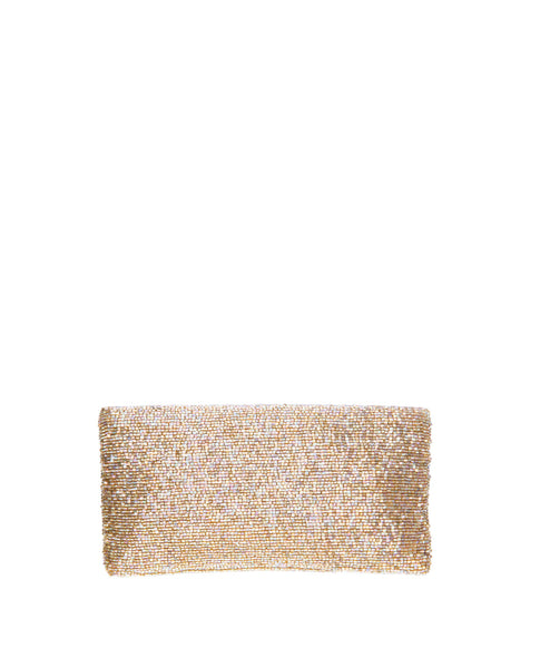 Sparkling in Gold Beaded Clutch