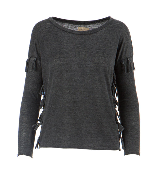 Long Sleeve Side Fringe Tee