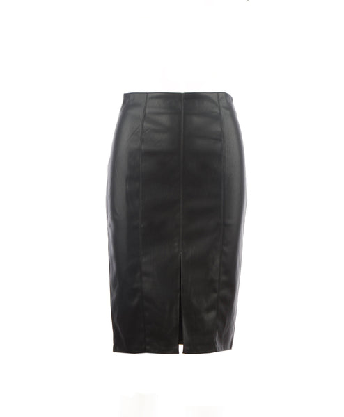 Isla-Black Vegan Leather Pencil Skirt