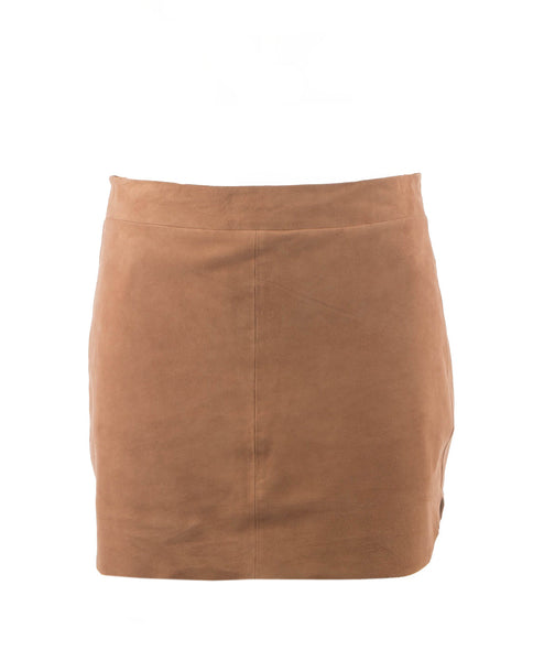JacobSuede-Nude Suede Mini Skirt