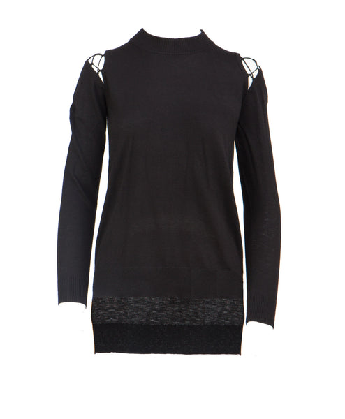 Jordi Lace Up Shoulders Long Sleeve Top