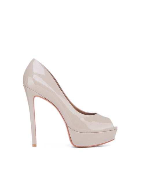Kay_grey Peep toe platform high heel pump
