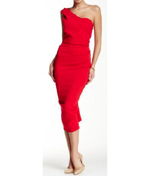 Lisa-Red One Shoulder Cocktail Dress