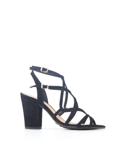 Lynne black Caged Block High Heel Sandal