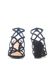 Lynne black Caged Block High Heel Sandal - Koko & Palenki - 3