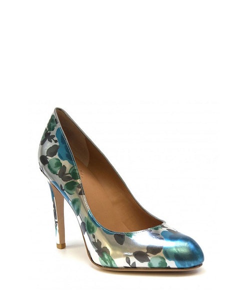 Floral Metal Blue Pump