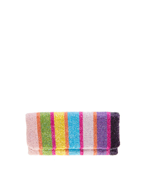 Multi-Color Beaded Stripe Clutch