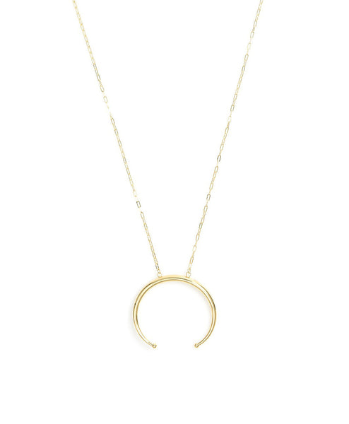 Upside Down Round Horn Long Necklace
