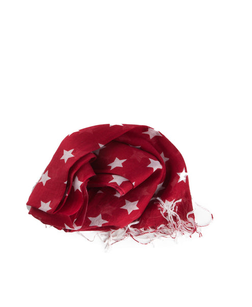Patriot Red Star Print Scarf