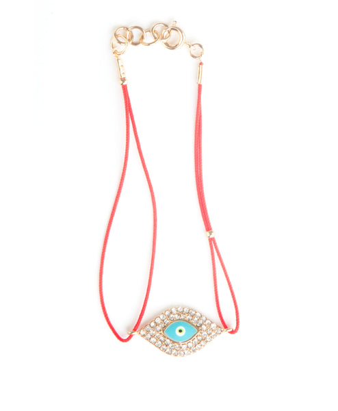 Red String Eye Enamel Bracelet