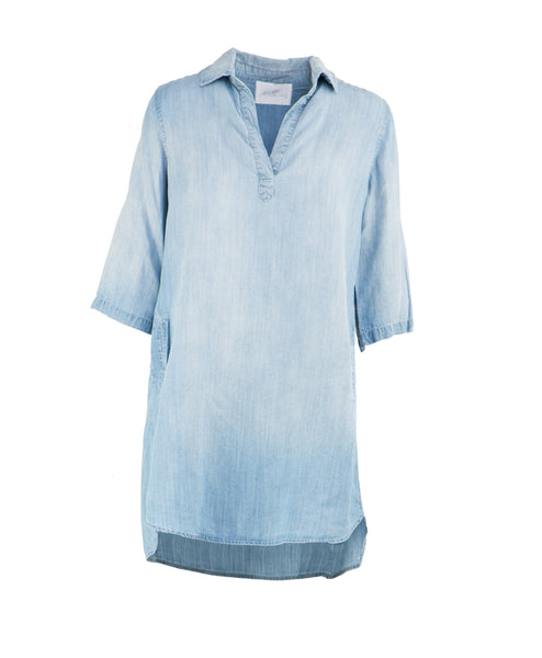 VTD5085 3/4 Sleeve Denim Shirt Dress