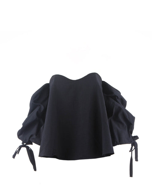 Zoe Cold Shoulder Ballon Top Navy