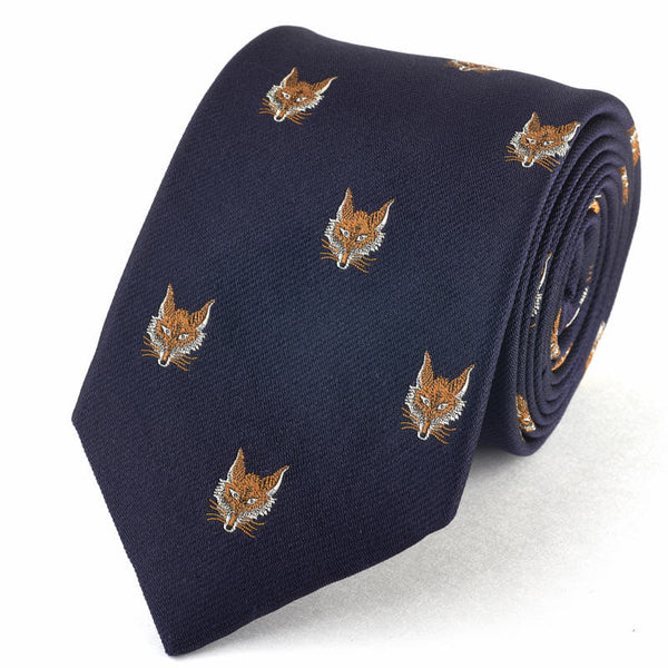 Fox Motif Tie - Silk Blue.
