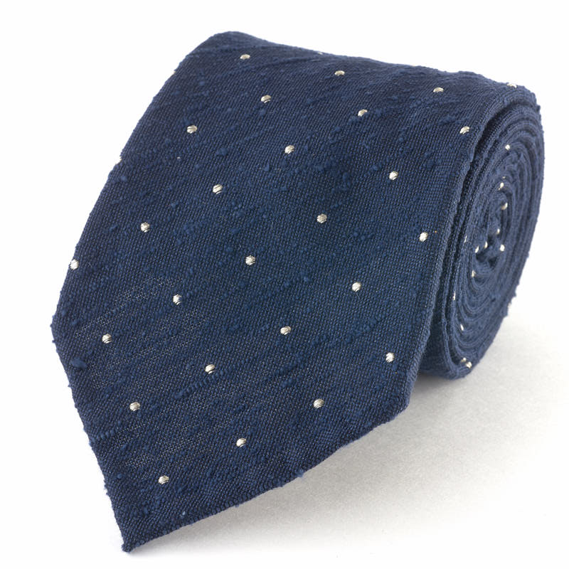 Raw Silk Spotted Tie.
