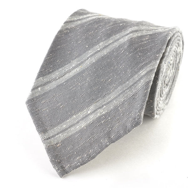 Raw Silk Grey and White Striped Tie.