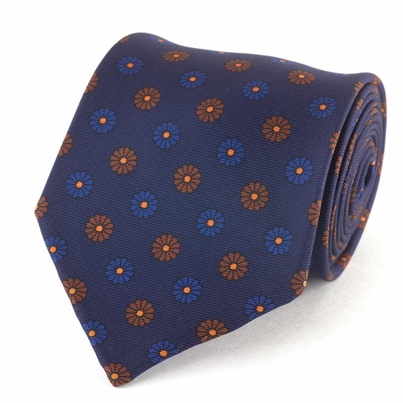 Silk Tie - Medallion in Dark Blue /Orange